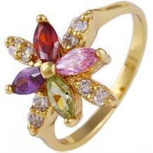 Кольцо позолота Gold Filled с разноцветными цирконами (GF452) Размер 17