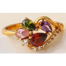 Кольцо позолота Gold Filled с разноцветными цирконами (GF455) Размер 17 и 18