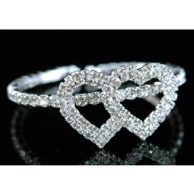 Браслет Bridal Double Hearts Rhinestone Bangle Bracelet SSB017