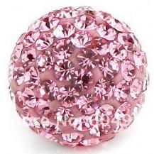 Бусина Шамбала с кристаллами 10мм. розовая (№223)