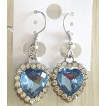 Серьги сердечки светло-голубые tb1064