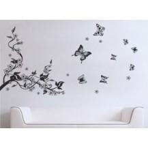 Интерьерная наклейка Цветы и Бабочки