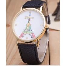 Часы Женева Geneva Эйфелева башня цветная черный ремешок