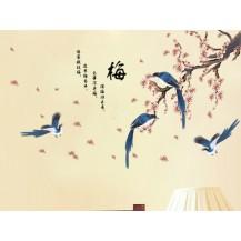 Интерьерная наклейка на стену Цветущая Сакура с птицами (AM913)