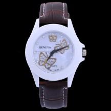 Часы Женева geneva Бабочки коричневый ремешок