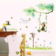 Детская Интерьерная наклейка Девочка на качелях (AY9194)