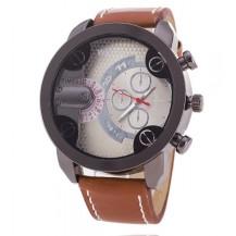 Часы мужские копия Weide серебристые с коричневым (029)