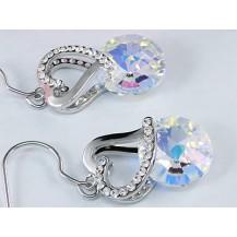 Серьги Dangle Heart Earrings Aurora Variation AB Swarovski Crystal SE381