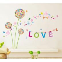 Интерьерная наклейка на стену Разноцветные Одуванчики XH9233