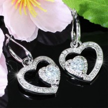 Серьги 1 Carat Dangle Heart Cubic Zirconia Earrings SE283