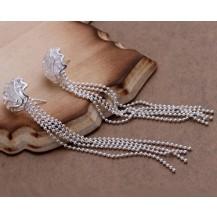 Серьги длинные Tiffany (TF112). Покрытие серебром 925