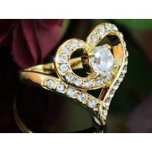 Кольцо Heart Gold Plate Ring use Swarovski Crystal SR102