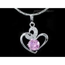Кулон 1.25 Carat Simulated Pink Sapphire Heart Pendant & Necklace SN260