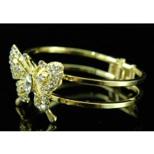 Браслет Butterfly Clear Crystal Gold Plated Cuff Bangle Bracelet SSB016