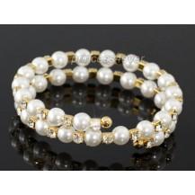 Браслет Bridal Fashion White Pearl Austrian Crystal Gold Bangle Bracelet SB022