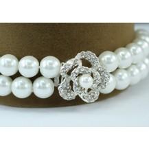 Браслет Bridal White Faux Pearl Rose Bracelet SSB060