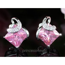 Серьги 2 Carat Pink Princess Cut Sapphire Stud Earrings SE325