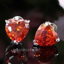 Серьги 2 Carat Red CZ Stone Heart Stud Earrings SE305