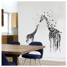 Интерьерная наклейка на стену Мама и малыш Жираф SK9067
