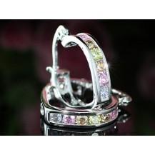Серьги Heart Multi-Color Topaz Huggie Earrings SE328