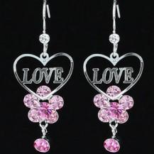 Серьги Pink Love Heart Earrings use Swarovski Crystal SE378