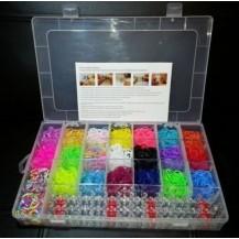 Резиночки для плетения браслетов Rainbow loom набор (4200шт, станок, 2 крючка, замочки)