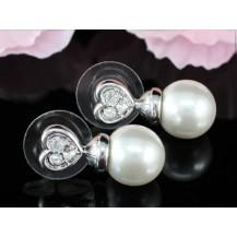 Серьги White Shell Pearl Heart Crystal Stud Earrings SE150
