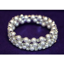 Браслет Clear Crystal Faux Pearl Stretchable Bangle / Armlet SA007