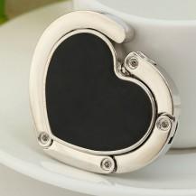 Крючок держатель для женской сумки Сердце черный