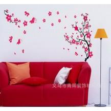 Интерьерная наклейка Сакура (цветы красные)