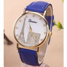 Часы Женева Geneva Эйфелева башня синий ремешок