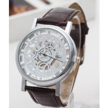 Часы мужские Скелетон серебристые с коричневым ремешком