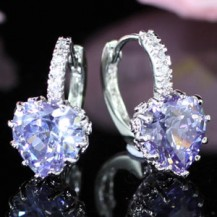 Серьги 3 Carat Blue Heart Sapphire Dangle Earrings SE341