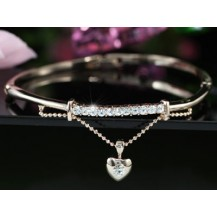Браслет Dangle Heart Rose Gold Plated Crystal Bangle SB087
