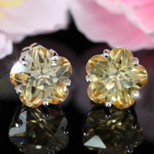 Серьги 3 Carat Flower Amber Sapphire Stud Earrings SE241