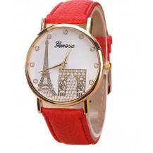 Часы Женева Geneva Эйфелева башня красный ремешок