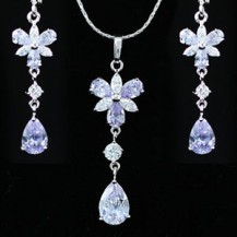 Набор 7 Carat Purple Sapphire Necklace Earrings Set SN244