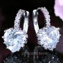 Серьги 3 Carat Heart Clear Simulated Diamond Huggie Earrings SE234