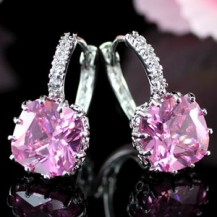 Серьги 3 Carat Pink Sapphire Huggie Bling Earrings SE317