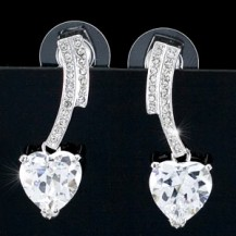 Серьги 4 Carat Dangle Heart Cubic Zirconia CZ Earrings SE260