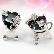 Серьги  4 Carat Black Onyx Heart Cut Earrings SE299