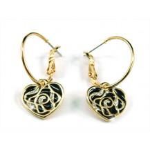 Серьги Black Rose Hearts Earrings use Swarovski Crystal SE087
