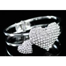 Браслет Bridal Double Heart Crystal Cuff Bangle Bracelet SSB048