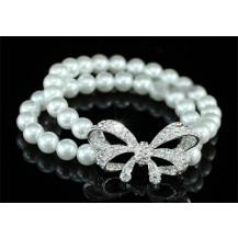 Браслет Bridal White Faux Pearl Ribbon Bracelet SSB058