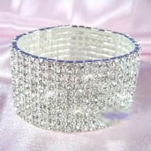 Браслет 10 Row Stretch Bridal Clear Crystal Rhinestone Bracelet SSB910
