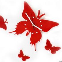 Настенные часы Бабочка, цвет красный. Бесплатная доставка по Украине.