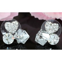 Серьги Sparkling Heart Cube Earrings use Swarovski Crystal SE468