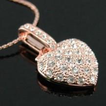 Кулон Heart Rose Gold Pla Necklace use Swarovski Crystal SN023