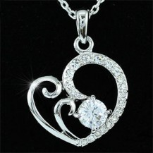 Кулон Heart Pendant 18K Necklace use Swarovski Crystal SN164