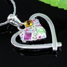 Кулон Heart Pendant Necklace use Swarovski Crystal SN196